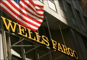 Wells Fargo Building, the sign on the main door, together with an American flag