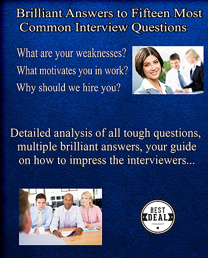 15 most common interview questions eBook cover, blue color